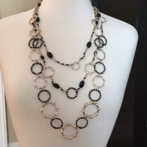 WHBM Convertible Black and Gold Necklace